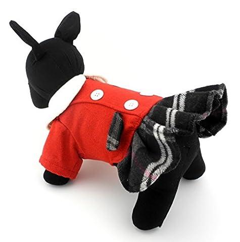 Ranphy Plaid Chien Robe en laine Robe Chemise d'hiver chaud Apparel Chihuahua Jupe par temps froid Vêtements Yorkie Vêtements