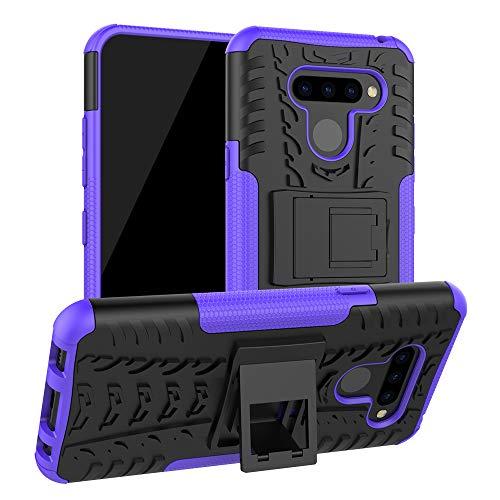 FANFO® Hülle für LG K50 / Q60, [Dual Layer Armour Series] Anti-Scratch PC Rückwand Schale + Stoßfeste TPU Innenschutzabdeckung + Faltbarer Halterungen, Lila