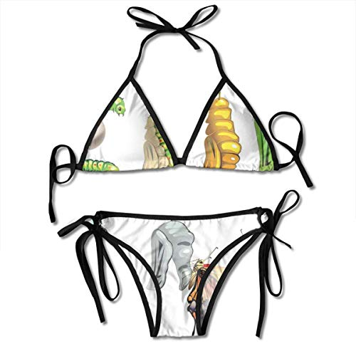 Adjustable Bikini Set Halter Ladies Swimming Costume, Illustration of Butterfly Stages with Cocoon Life Cycle Nature Print Home Decor,Halter Beach Bathing Swimwear