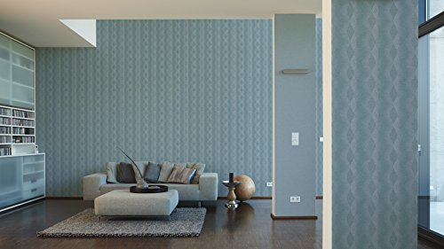 A.S. Création Vliestapete Life 4 Tapete im Retro Design Retrotapete 70er Jahre Style 10,05 m x 0,53 m blau weiß Made in Germany 356042 35604-2