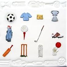 Bake and Create Patchwork de cuchillas Marion Frost moldes para galletas, motivos deporte (fútbol, Cricket, Golf), incluye instrucciones. Ideal para cupcake-adornos.