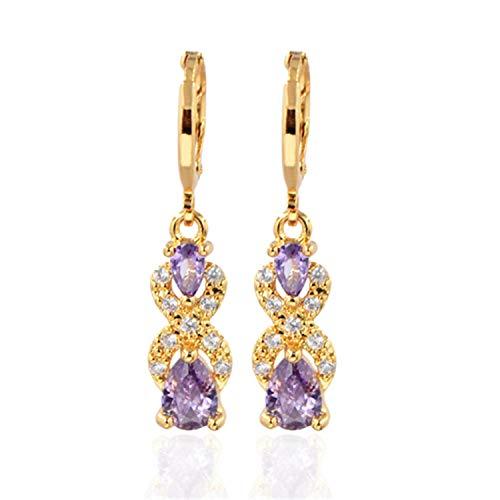 Presock Pendientes Mujer,Aretes Fashion Women Girls Gold Color Green Double Pear Cubic Zirconia CZ Drop Earrings Jewelry XEG189-Purple