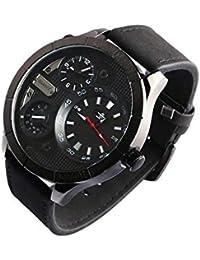 Grosse Reloj Hombre Pulsera Cuero Negro Doble bolillos forkex – Hombre