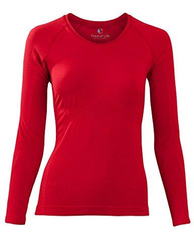 Bequemes Damen Schlaf-Shirt | LANGARM Oberteil, Seamless – ohne störende Nähte | SleepShirt AVIOR dreimal weicher als Baumwolle | Thermoregulierende und atmungsaktive Funktions-Nachtwäsche (ROT, XS (Rote Sleep-pant Damen)