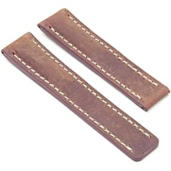 DASSARI Venture Tan Distressed Italian Leather Watch Band for BREITLING 20/18 20mm