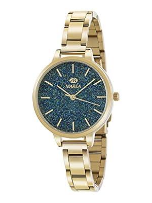 Marea B41239/13 Reloj para Mujer con Correa Dorado y Pantalla en Verde