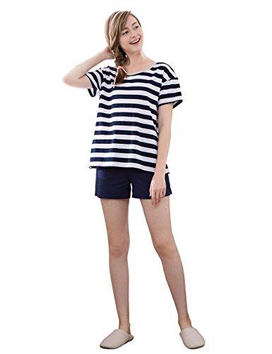 Gestreiften Pyjama Schlafanzug kurz Damen Pyjama kurz Damen Nachthemd kurz aus softweich L XL XXL Marine Blau