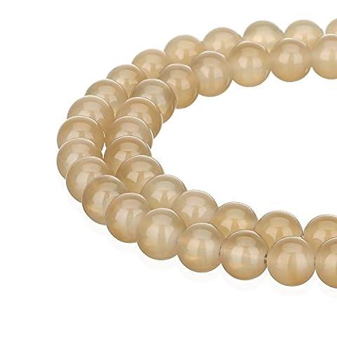 Rubyca haute qualité 1fil Jade imitation rond Painted Perles de verre pour fabrication de bijoux, Verre, café clair, 04 MM