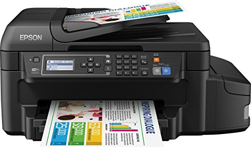 Epson EcoTank ET-4550 All-In-One nachfüllbares 4-in-1 Tintentstrahl Multifunktionsgerät (Kopierer, Scanner, Drucker, Fax, ADF, WiFi, Ethernet, Duplex, Display, USB 2.0) schwarz