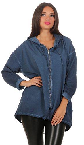 224 Damen Parka leichte Jacke dünne Übergangsjacke Kapuzenjacke mit Glitzer Streifen 3/4 Ärmel Einheitsgröße Blau