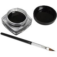 LANDFOX 2 PCS Mini Delineador de ojos Gel crema con el cepillo cosmético del maquillaje a prueba de agua Delineador de ojos