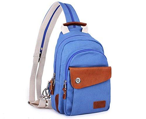 Männer Und Frauen Kleine Freizeit Leinwand Reißverschluss Schultern Rucksack 28 21 Unzen (oz),Blue-Medium (21 Unzen-paket)