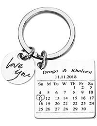 ca5bd3c055 Calendario Personalizado Llavero Estampado a Mano Calendario Día Especial  Calendario Llavero Aniversario Personalizado Regalo para Novia