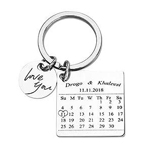 llaveros para grabar: Calendario Personalizado Llavero Estampado a Mano Calendario Día Especial Calend...
