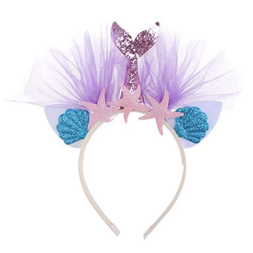 Frcolor Glitter Meerjungfrau Stirnband mit Mesh Prinzessin Mädchen Haarbänder Party Favors Ohren Haarband (Purplr Tail) (Prinzessin Glitter Kostüm)