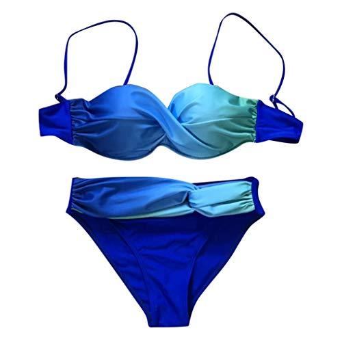 Print Zwei Stück Höschen (☺HWTOP Bikini Damen Set Push Up Bademode Beachwear Gradient Print 2 Stück Bikini Badeanzug Badeanzug)