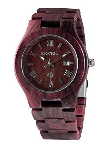 Alienwork Quarz Armbanduhr massive Naturholz Quarzuhr Uhr handgefertigt rot Rotes Sandelholz UM-W127A-01