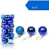 Set di 24 Accessori Decorativi per L'Albero di Natale, Palline Albero di Natale bl, Addobbi Natalizie in Color Blu