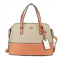Cathy London Womens Handbag, Material- Syntethic Leather, Colour- Peach/Beige