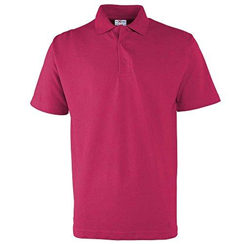 RTXtra Mens Classic Casual Colours Short Sleeve Pique Button Polo Shirt Fuchsia