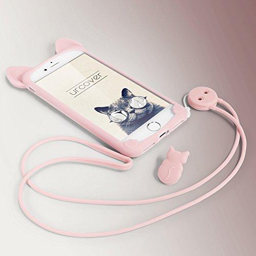 Urcover® Apple iPhone 7 Plus / 8+ Schutz-Hülle mit KATZEN OHREN & [ Trage-Schlaufe ] Silikon-Cover in Grün Öhrchen Schale Süß Tasche Girl Super Sweet Cute Cat Ear Kitty Mädchen TPU Kitten Back-Case Rosa