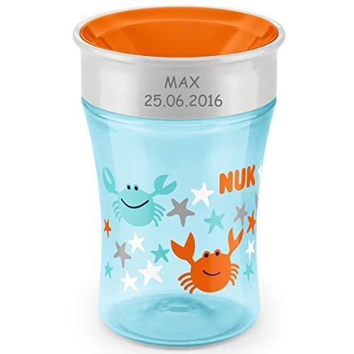 NUK Magic Cup, Trinklernbecher mit persönlicher Gravur, 230ml, ab 8 Monaten, Krabbe (hellblau) (Kinder Zeichen Trinkbecher)