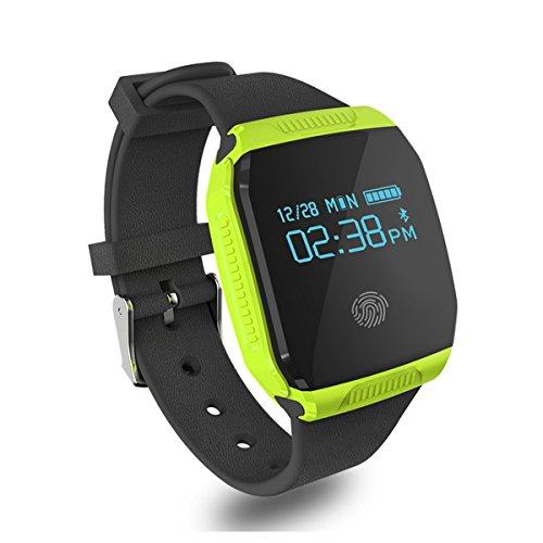 Willful étanche Fitness Tracker Montre Bluetooth intelligente Wristband avec HD grand écran tactile, moniteur de sommeil, Camera Control Musique, appel Push texte, Natation Cyclisme Tracker pour IOS Android Phones (Noir) (Vert)