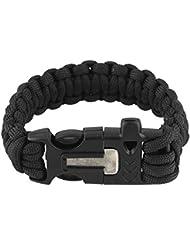 Corde de Survie /Paracord Bracelet d'Urgence avec Flint Allume-feu Scraper Whistle Kit d'Engrenages Extérieure