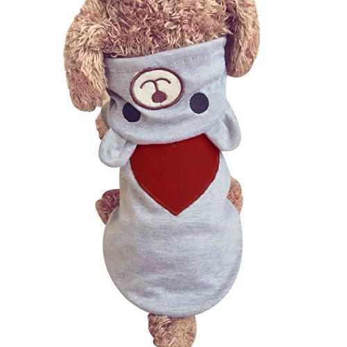 (mioim Hunde Katze Pullover Hundemantel Haustier Kapuzenpulli Winter Hundebekleidung Weich Fleece Kostüm Kleidung Liebe Bär mit Kapuze Grau XS)