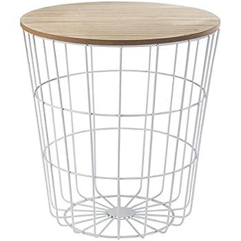 beistelltisch tisch mit stauraum 39 cm h 41 cm metall holz nachttisch wei k che. Black Bedroom Furniture Sets. Home Design Ideas