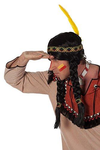 Herren Perücke Indianer zum Krieger Kostüm Karneval (Kostüme Krieger Indianer)