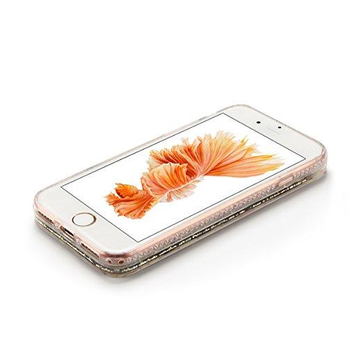 Cover iPhone 7 plus Custodia iPhone 7 plus Liquido Anfire Trasparente Rigida Duro Plastica PC Case per Apple iPhone 7 plus (5.5 Pollici) Sabbie Mobili Shell 3D Bling Glitter Floating Quicksand Copertu Fiore Silver