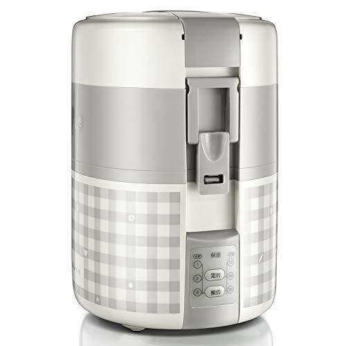 er,EIN-Personen-elektrische Mittagessen Box einen kleinen Reis reiskocher Reis Topf elektrischen Herd Food Steamer Druck reiskocher-Grau 17.9x16.4x24cm(7x6x9inch) ()
