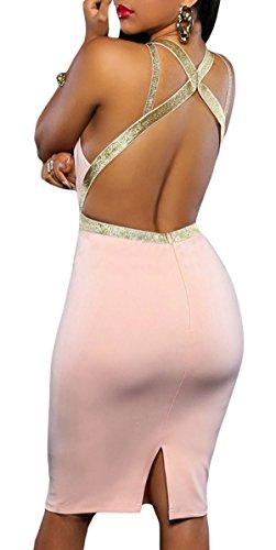 Abito donna vestito sexy dettaglio passanti scollatura schiena elegante Rosa