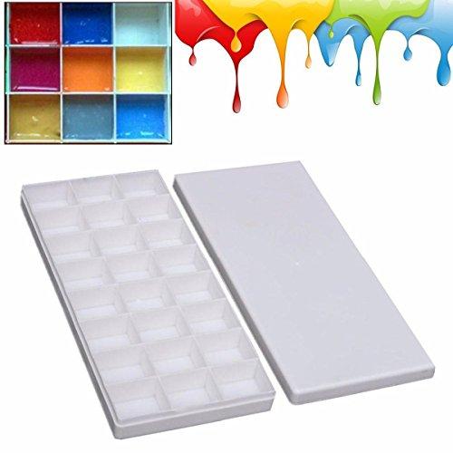 LANSEYQO 24 Aquarell Palette mit Deckel für Fach Malerei Kunststofffarbe Aquarellfarben Set