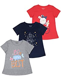 MINNOW Girls Printed Cotton Tshirt(Multicolour,Pack of 3)