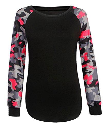 DEMO Damen T Shirts Langarm Druck Sweatshirt Frauen Rundhals T Shirt Lässige Tarnung Bluse Tops Rot