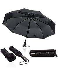 VON HEESEN Regenschirm sturmfest bis 140 km/h - inkl. Schirm-Tasche & Reise-Etui - Taschenschirm mit Auf-Zu-Automatik, klein, leicht & kompakt, Teflon-Beschichtung, windsicher, stabil