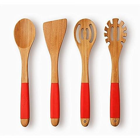 Cucchiaio Set utensili da cucina Utensil in bambù con maniglie