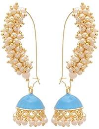 JFL - Traditional And Ethnic One Gram Gold Plated White Pearls Meenakari Designer Jhumki Bali Earring For Girls...