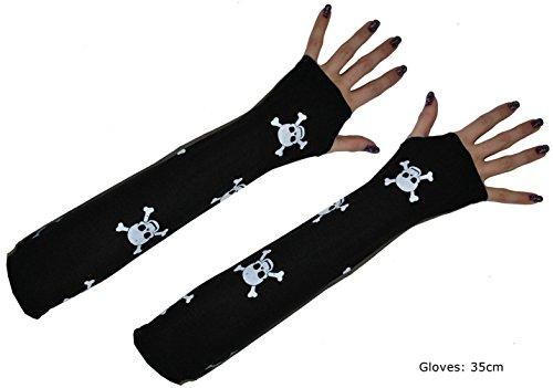 Karneval-Klamotten Skelett Handschuhe Halloween Totenkopf schwarz weiß Halloween Karneval