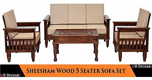 MH Decoart Sheesham Wood 5 Seater Sofa Set 3+1+1 for Living Room (Walnut Dark Brown)