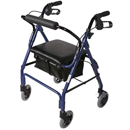 ZXL Standardwanderer \\u0026 Gehhilfen Walker Reha für ältere Menschen Auto Einkaufswagen Faltbarer Einkaufswagen Reha-Trainingsgerät für die unteren Gliedmaßen (Farbe: Blau, Größe: 83 * 46 cm)