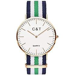 C+T Watch CT-4 Watch Gold Nylon Nato Strap Navy Green