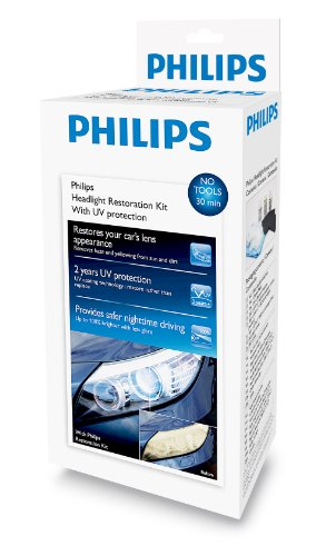 Philips Headlight Restoration Kit with UV protection - Complete Kit to restore headlight lenses