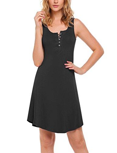 Ekouaer Nightgown Damen Henley Sleeveless Schlafhemd Button Down Nightshirt Nachtwäsche S-XXL (Nachthemd Henley S/s)