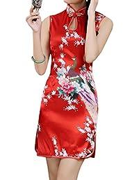 XueXian(TM) Mujer de Elegente Qipao de Estilo China con Sin Mangas