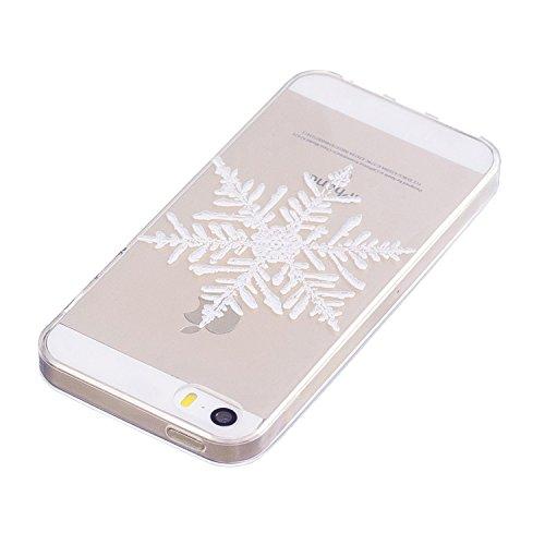 Coque iPhone SE, iPhone 5/5S Case, Voguecase [Ultra Fin] [Anti Choc] Nouveau TPU Silicone Conçu pour Noël, Exact Fit / Léger / Souple Housse Etui Coque Pour Apple iPhone 5 5G 5S SE (Merry Christmas) + Gros flocon de neige 02