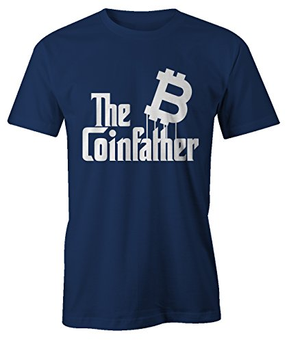 RiotBunny The Coinfather Bitcoin Cryptocurrency BTC LTC Digital Currency T-Shirt Camiseta Hombres Azul Marino Large