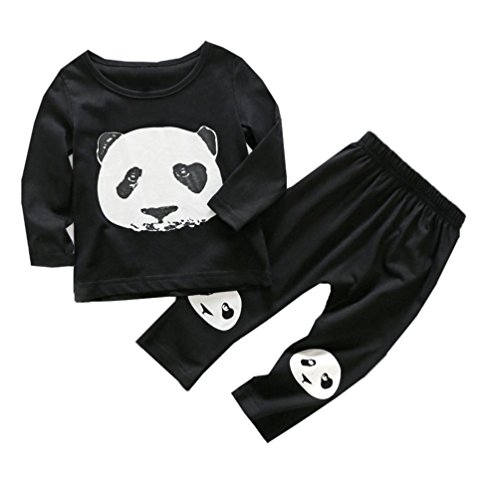 Babymode Babykleidung Neugeborene Kleidung Longra Baby Mädchen Jungen Strampler Set Langarm T-shirt +Hosen Schwarzer Panda Baumwolle Coole babykleidung (Black, 90CM 12Monate) (Baby-jungen-langarm-hose)